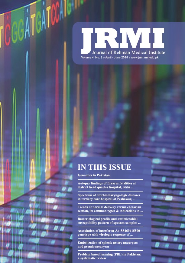 View Vol. 4 No. 2 (2018): Journal of Rehman Medical Institute
