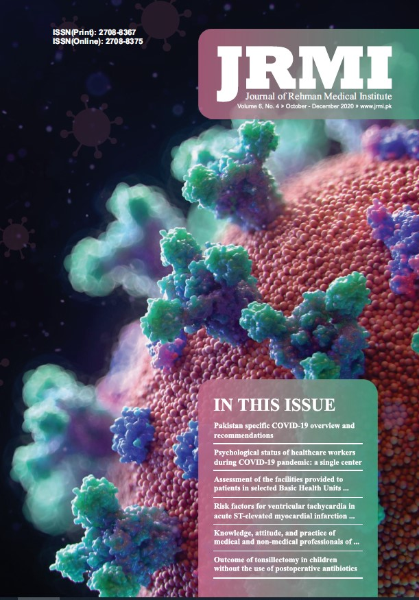 View Vol. 6 No. 4 (2020): Journal of Rehman Medical Institute