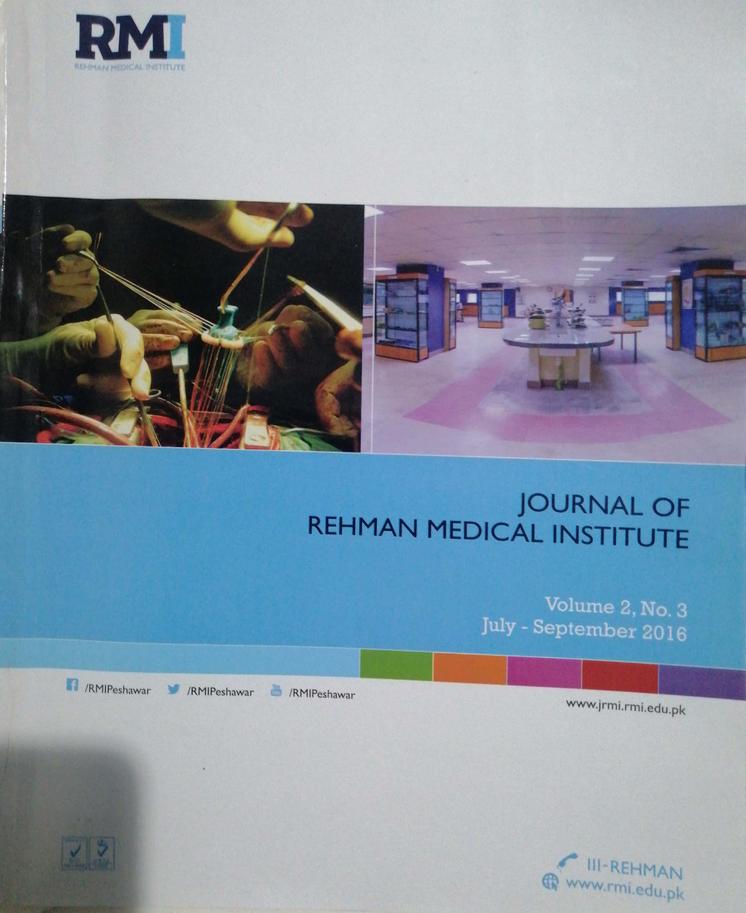 View Vol. 2 No. 3 (2016): Journal of Rehman Medical Institute