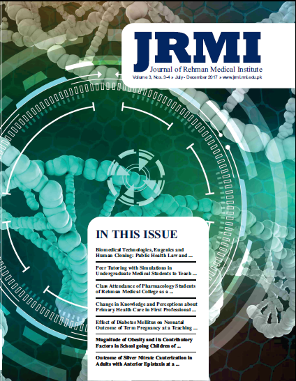 View Vol. 3 No. 3-4 (2017): Journal of Rehman Medical Institute